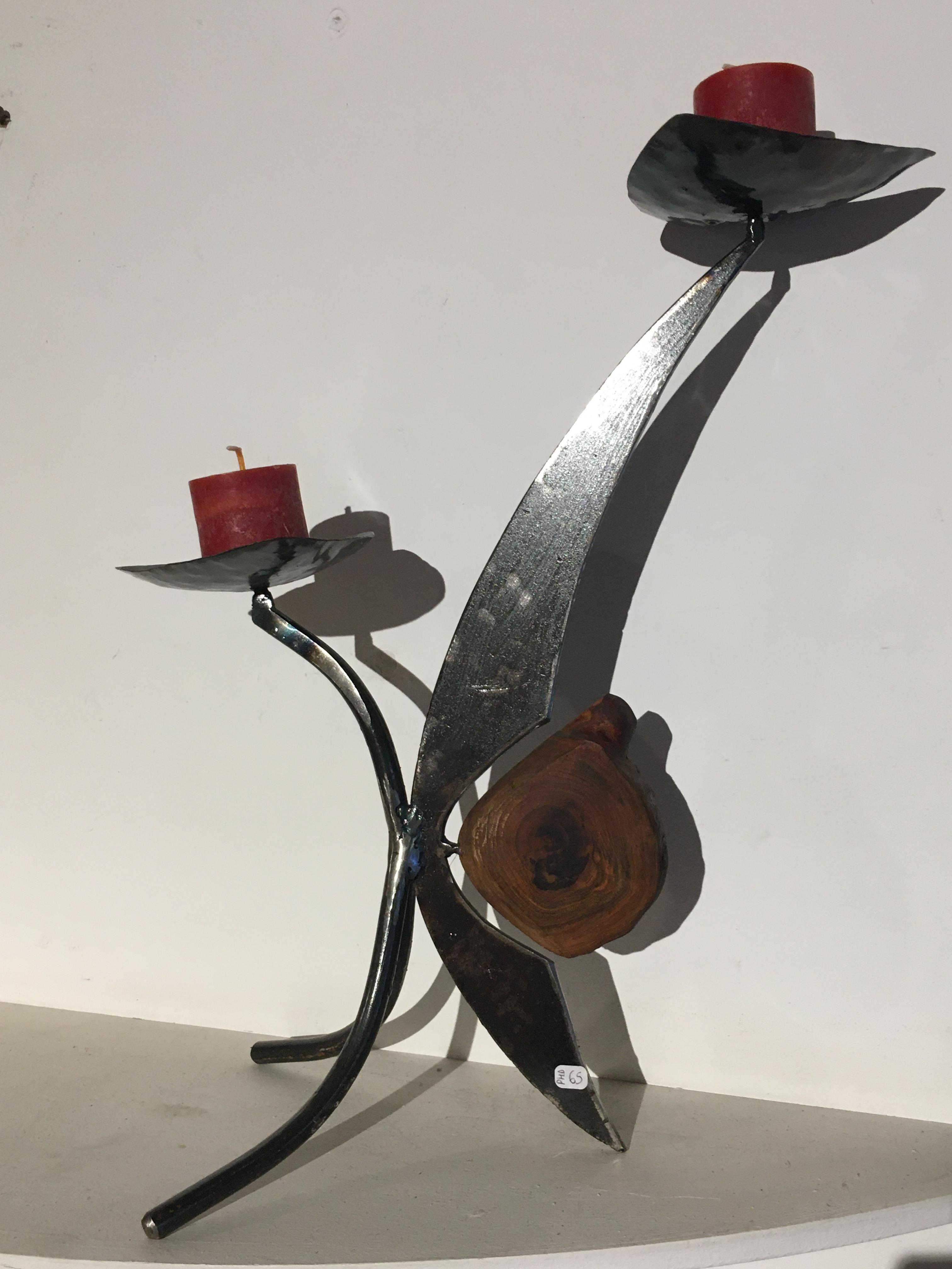 Bougeoir métal et bois: ref.PHD/bougeoir01/65€
